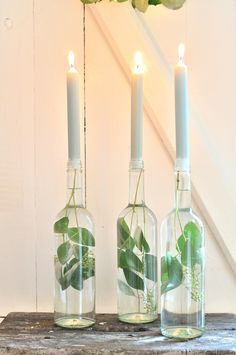 Scandinavian Christmas Decorations, Glass Bottles, Our Wedding, Diy And Crafts, Xmas, Candles, Home Decor, Winter, Table