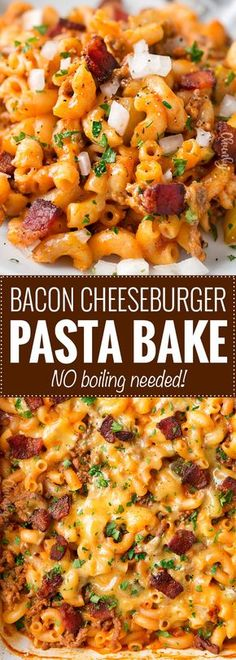 No-Boil One Pan Bacon Cheeseburger Pasta Bake: this weeknight dinner recipe is a tasty twist on an American classic, the bacon cheeseburger. One pan, no pre-cooking the beef, and no boiling the pasta... it all bakes together into the best bacon cheeseburger pasta bake or casserole ever!! | The Chunky Chef