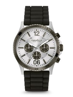 Caravelle New York Men's 45A126 Chronograph Watch  | Retail Price: $115 | In-stock watches are 30% OFF and catalog orders are 25% OFF! | Click website for watch details | Andrew Gallagher Jewelers, Newark, DE | 302-368-3380 | WE SHIP!!! DON'T FORGET! There is NO Sales Tax in Delaware!!! |
