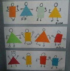 Drawing For Kids, Art For Kids, Crafts For Kids, Arts And Crafts, Paper Crafts, Art Montessori, Arte Elemental, Kindergarten Art Lessons, Shape Art