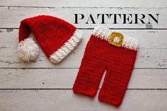 Crochet PATTERN - Christmas Newborn Santa hat and pants set Photo Prop Set -Instant Download PDF - Christmas Photography Prop Pattern