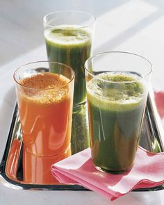 Green-vegetable juice is sweetened with fruit juices to make a wonderful, energizing morning beverage. A piece of ginger root adds a healthy kick and a bit of bite.
