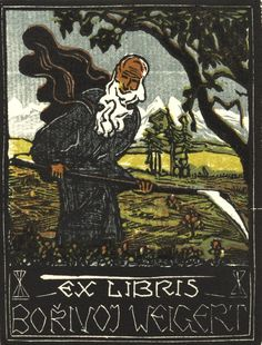 Bookplate by Josef Vachal for Borivoj Weigert, 1919 Ex Libris, Old Books, Printmaking, Hand Carved, Prints, Painting, Plates, People, Traffic Sign