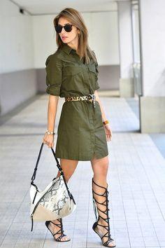 Olive Green Dress with animal print accents Urban Dresses, Trendy Dresses, Stylish Outfits, Casual Dresses, Cute Outfits, Safari Outfits, Safari Dress, Moda Rural, Moda Safari