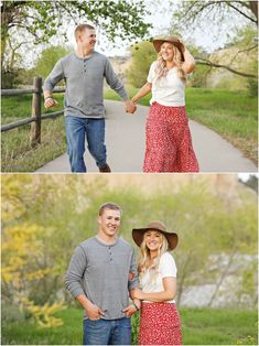 Spring Engagement Session - Summer Engagement Session - Fiance - Engaged - Trees - Green Grass - Running Down Path - Brown Hat - Holding Hands - Hugging - Gray Shirt - White Red Floral Skirt - White Shirt - Jeans - Water - Yellowstone River - Montana Wedding Photographer - Sara Nagel Photography Engagement Photography, Engagement Session, Engagement Photos, White Shirt And Jeans, Gray Shirt, Montana Wedding, How To Pose, White Skirts, Green Grass