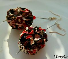 Origami Ball Lantern earrings in black red and pink by MarysaArt