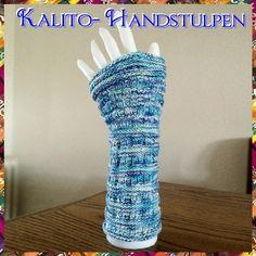 Leichte Kalito - Handstulpen (aus 4fach Sockenwolle) Gefertigt aus 50g/200m in 4fädig Sockenwolle, hier mit Baumwollanteil, handgefärbtes Garn. Es ist ein ganz einfaches Muster, auch für Anfänger geeignet. Schwierigkeitsgrad: 2 (1/5)