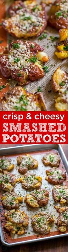 Home Made Doggy Foodstuff FAQ's And Ideas These Cheesy Smashed Potatoes Are Crisp On The Outside With A Creamy Center And Irresistible Cheesy Crust. Potato Dishes, Potato Recipes, Vegetable Recipes, Food Dishes, Potato Ideas, Cheese Recipes, Side Dish Recipes, Dinner Recipes, Yummy Recipes