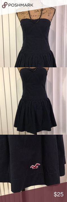 Hollister Strapless Black Micro Mini Medium Elastic back, pleated front with ruffled mini.  Like new, was worn once or twice only.  This skirt is just so simple, but even so, will leave a lasting impression.  Cute, cute, cute!! Hollister Dresses Mini