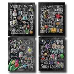 Vier seizoenen 4 seizoenen Wall Art schoolbord kunst krijt
