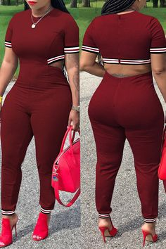 Lovely Casual Hollowed-out Wine Red Blending One-piece Jumpsuit Curvy Girl Outfits, Sexy Outfits, Chic Outfits, Fashion Outfits, Thick Girl Fashion, Curvy Women Fashion, Plus Size Fashion, Pernas Sexy, Looks Chic