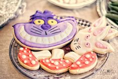 Alice in Wonderland themed cookies from an Alice in Wonderland Birthday Party via Kara's Party Ideas
