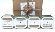 """A boxed set of 4 tins of zesty all natural dry meat rubs makes the perfect gift for the grill master, BBQ enthusiast, or any cook looking to add a little kick to their recipes! Try my all natural meat rubs instead of a marinade the next time you fire up the grill for chicken, pork, beef, or seafood. You'll get all the flavor without all that time needed for a marinade to sink in. Each tin holds 4 ounces of dry rub and comes packaged in a 6"""" x 6"""" x 4"""" recycled gift box tie..."""