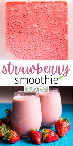 This healthy Strawberry Smoothie Recipe is made with almond milk, frozen strawberries, banana and no yogurt. This strawberry smoothie is easy for kids to make and tastes delicious! Strawberry Smoothie Recipe With Almond Milk, Smoothie Recipes, Snack Recipes, 4 Ingredient Recipes, Frozen Strawberries, Almond Recipes, 4 Ingredients, Healthy Snacks, Ethnic Recipes