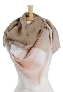 Plaid Blanket Scarf in Taupe and Pink SJ-208-TP