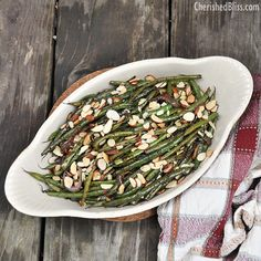 Sauteed French Green Beans with Toasted Almonds - Cherished Bliss  Change up a couple of things in here and it will be perfect.