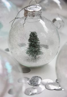 The Happy Home: Christmas crafting: glass bauble snowglobe and other decorating ideas