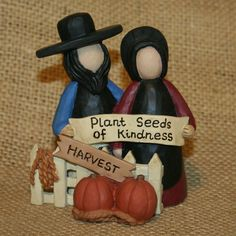 Amish Couple Plant Seeds Of Kindness Blossom Bucket Fall Resin Figurine #BlossomBucket
