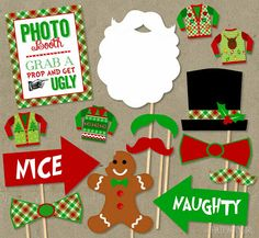 Ugly Sweater Party Photo Booth Props Package DIY by thatpartygirl Tacky Christmas Party, Christmas Photo Booth, Tacky Christmas Sweater, Ugly Sweater Party, Office Christmas, Xmas Party, Christmas Photos, Christmas Holidays, Tacky Sweater