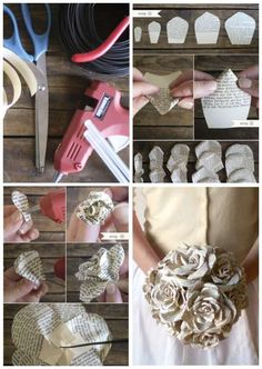 Bridal bouquet with roses made from old books. 15 Creative Ideas to Recycle Old Books Source by guideastuces Book Folding, Paper Folding, Handmade Crafts, Diy And Crafts, Diy Old Books, Paper Art Design, Steampunk Wedding, Book Crafts, Book Art
