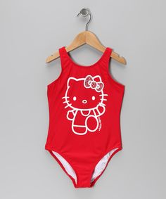 Cats may hate getting wet, but Hello Kitty loves splishin' and splashin', just like this colorful swimsuit. Made from stretchy and quick drying fabric with plenty of panache, this sweet suit will have any girl feline fine.82% nylon / 18% spandexHand washImported