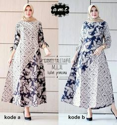 Gamis batik modern Muslim Fashion, Hijab Fashion, Fashion Dresses, Islamic Fashion, Blouse Batik, Batik Dress, Model Dress Kebaya, Dress Batik Kombinasi, Batik Muslim