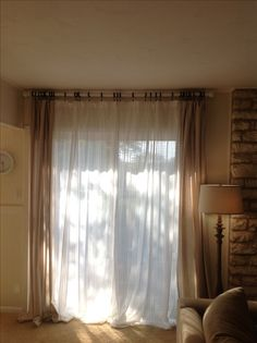"Ikeas Lenda curtains & Ikeas Matilda (discontinued) sheer voile cotton, ideas for patio door curtains (mine aren't hemmed yet so they'll ""puddle"" much better later), on other window in living use Matildas & bamboo/roman blinds"