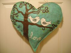 Burlap heart with Love Birds.