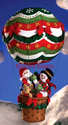 Bucilla Up Up & Away ~ felt pendants decoration Kit # 86153 Santa, frosty, balloon diy Christmas Stocking Kits, Christmas Time, Christmas Stockings, Christmas Crafts, Christmas Ornaments, Felt Christmas Decorations, Holiday Decor, 242, Felt Applique