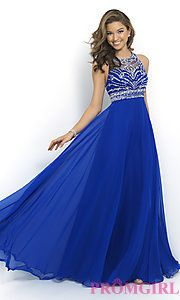 In Stock Buy Blush High Neck Long Gown at PromGirl