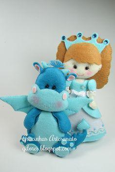 Princess & dragon, #felt.  Gracinhas Artesanato