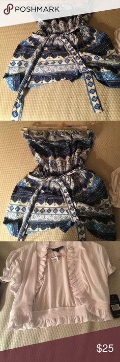 Junior romper /w shall Brand new blue romper / w white shall price for  set. Make an offer 💙💙 Just love Dresses Strapless