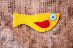 Yellow bird brooch made from felt. £2.00