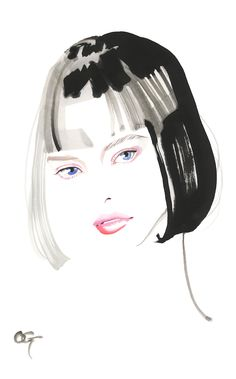#Pinky_make #Bob_Hairstyle #OHGUSHI #Fashion_illustration #Cosmetic #portrait_painting #watercolor #india_ink #japanese_ink #Bijinga #美人画 #墨