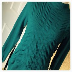 Teal Mock Turtleneck Teal textured mock turtleneck! 72% rayon, 28% polyester measurements are as follows laying flat.  Bust 18 inches Length 24 inches from shoulder to hem, Sleeve length 21 inches  (CB1) Verve Sweaters Cowl & Turtlenecks
