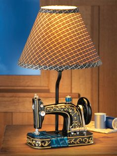 Sewing Machine Lamp with Gingham Checkered Shade from Collections, Etc.