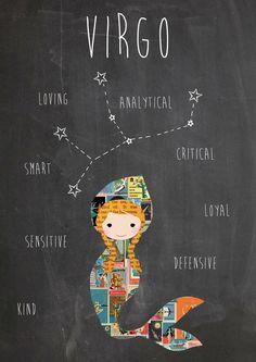 Zodiac Virgo Constellation and Traits Art Print