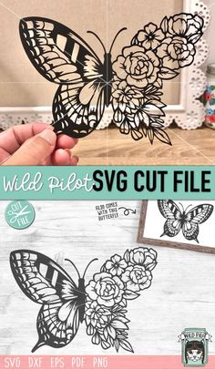Butterfly Flowers, Butterfly Wings, Butterfly Stencil, Floral Flowers, Butterfly Crafts, Kirigami, Cricut Explore Projects, Cricut Craft Room, Cricut Tutorials