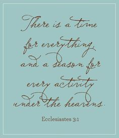 ❥ To everything there is a season and a time for every purpose under heaven. ~Ecclesiastes 3:1