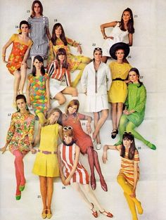 Ford models in mini dresses,Seventeen, 1967. (In was in junior high at this time and wore similar).
