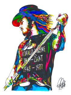 Ronnie Van Zant of Lynyrd Skynyrd POSTER from Original Ink Drawing Signed amp Dated by Artist POSTER from Original Ink Drawing of Ronnie Van Zant of Lynyrd Skynyrd Printed on Rock Posters, Band Posters, Concert Posters, Papa Roach, Breaking Benjamin, Rock And Roll Bands, Rock N Roll Music, Rock Roll, Garth Brooks