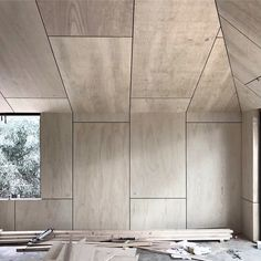 Plywood walls and angled ceilings at our Yandoit Cabin, ready for sanding and sealer. Plywood Wall Paneling, Plywood House, Plywood Ceiling, Ceiling Design, Wall Design, House Design, Painel Home, Plywood Interior, Plywood Furniture