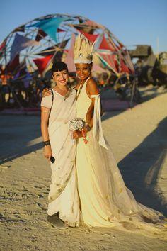 Epic Burning Man Wedding: Holmar & Jasmine