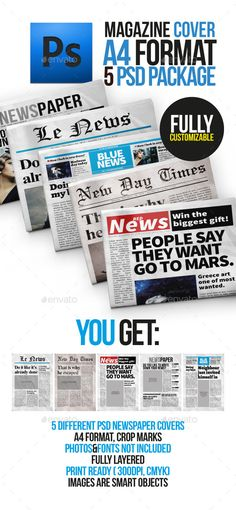 5 Newspaper Covers A4 Format - Newsletters Print Templates Download here : https://graphicriver.net/item/5-newspaper-covers-a4-format/10086602?s_rank=224&ref=Al-fatih