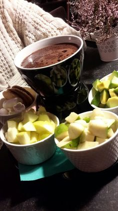 Green type of chocolate fondue - pear, green apple & avocado