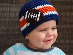 Crochet Football Stripe Beanie Hat - Etsy $21.00
