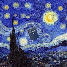 A Starry Night Van Gogh Mountain Inspiration With Tardis