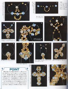 手工串珠教程 水晶串珠材料 DIY教程-y - tunino - Picasa Web Albums This web site has a lot of patterns confusing to find find the button alblum Beaded Jewelry Designs, Seed Bead Jewelry, Beading Patterns Free, Beading Tutorials, Beaded Cross, Beading Techniques, Beaded Ornaments, Beads And Wire, Loom Beading