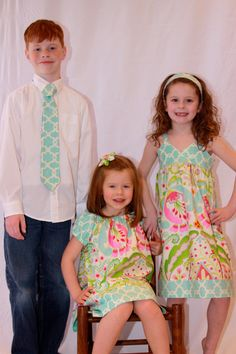 Easter outfit, two Peasant Dresses with matching boy tie, sizes 1-9, custom order. $90.00, via Etsy.