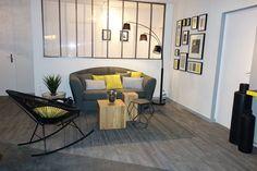 Verrière - Emmanuelle Rivassoux Home Staging, Home Interior, Interior Design, Blue Design, Home Living Room, Architecture Design, Sweet Home, Patio, Cool Stuff